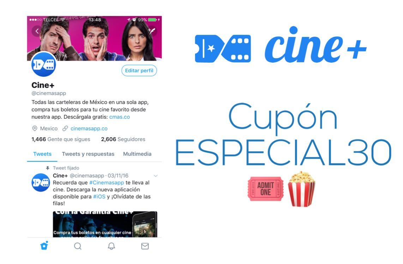 Cine+: $30 de descuento prácticamente en cualquier sala de cine en México (sin mínimo de compra).