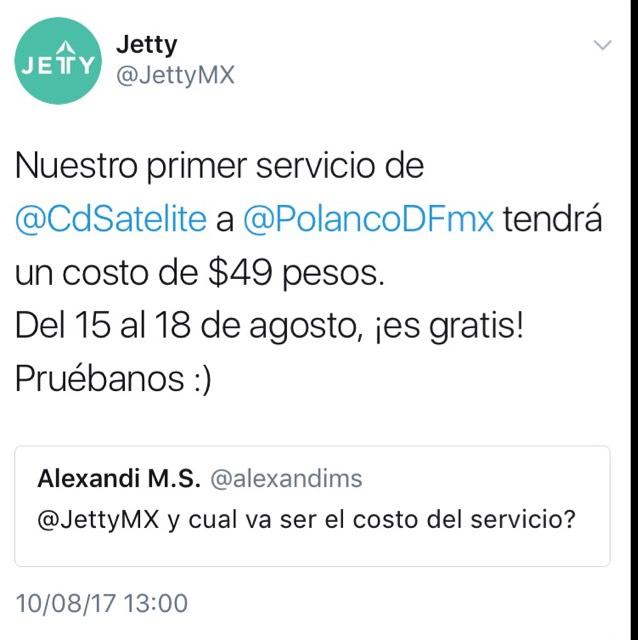 Jetty: Nueva APP de transporte, ofrece viajes gratis del 15 al 18 de Ago