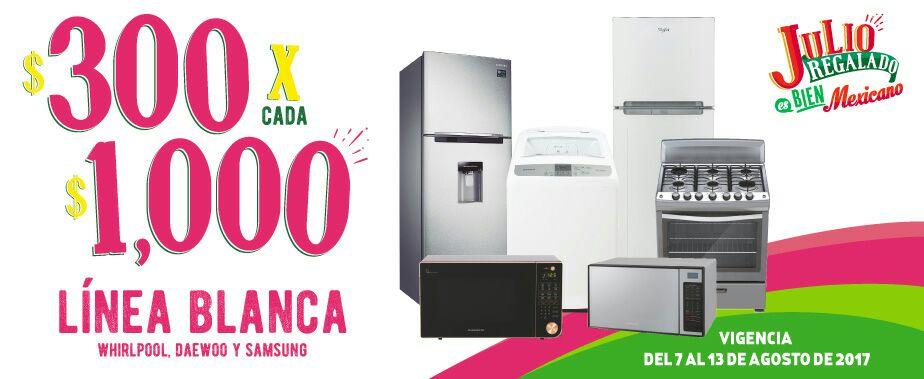 Julio Regalado 2017 en Comercial Mexicana y MEGA: -$300 por cada $1,000 en línea blanca Whirlpool, Daewoo y Samsung