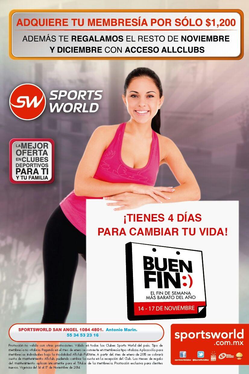 Promociones del Buen Fin en Sports World: membresía y resto del 2014 $1,200