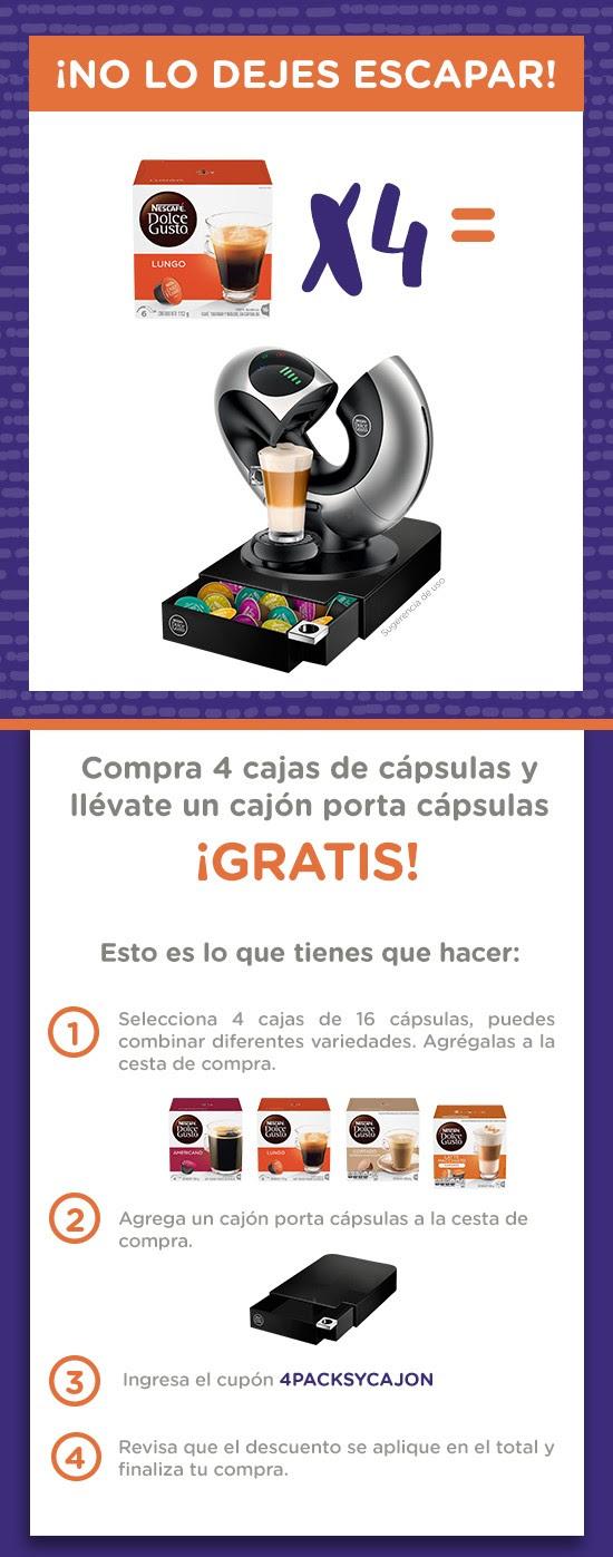 Dolce Gusto: Cajón Porta Capsulas Gratis, al comprar 4 cajas Variedades