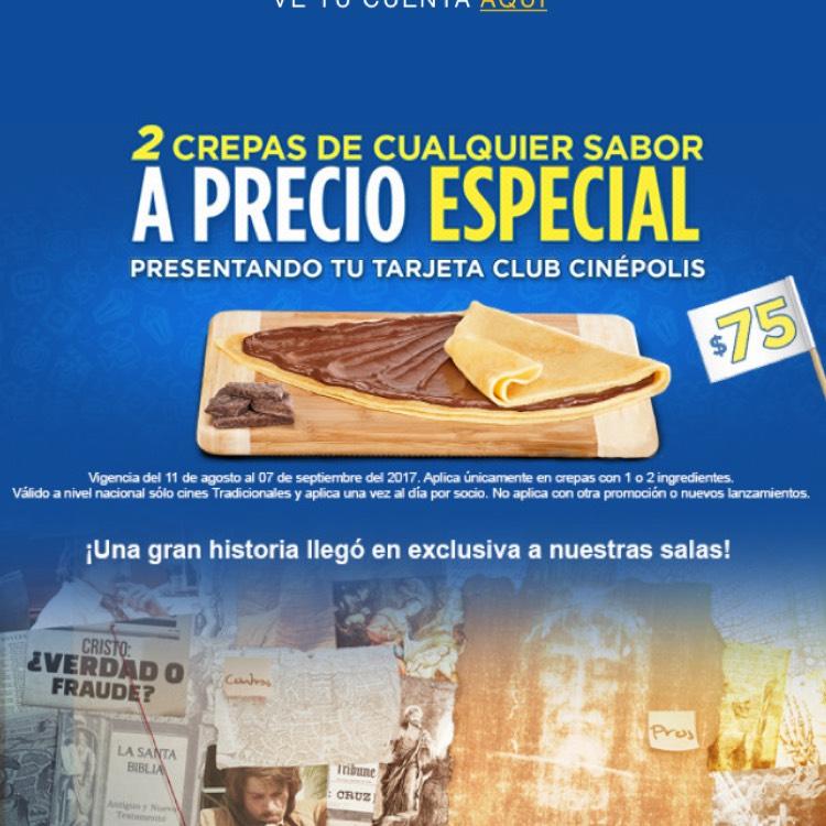 Cinepolis: 2 Crepas por $75 con tarjeta Club Cinepolis
