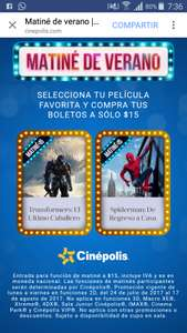 Cinépolis: MATINÉ Transformers o Spiderman a $15