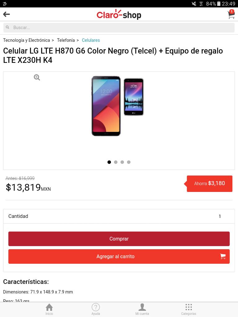 ClaroShop: LG G6 más LG K4 2017 de regalo