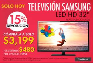 Linio: Televisión Samsung UN32EH4003 LED HD 32'' Reacondicionada $2,364 ó $2,559