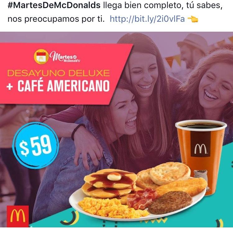 Martes de McDonald's: Desayuno deluxe + café americano por $59
