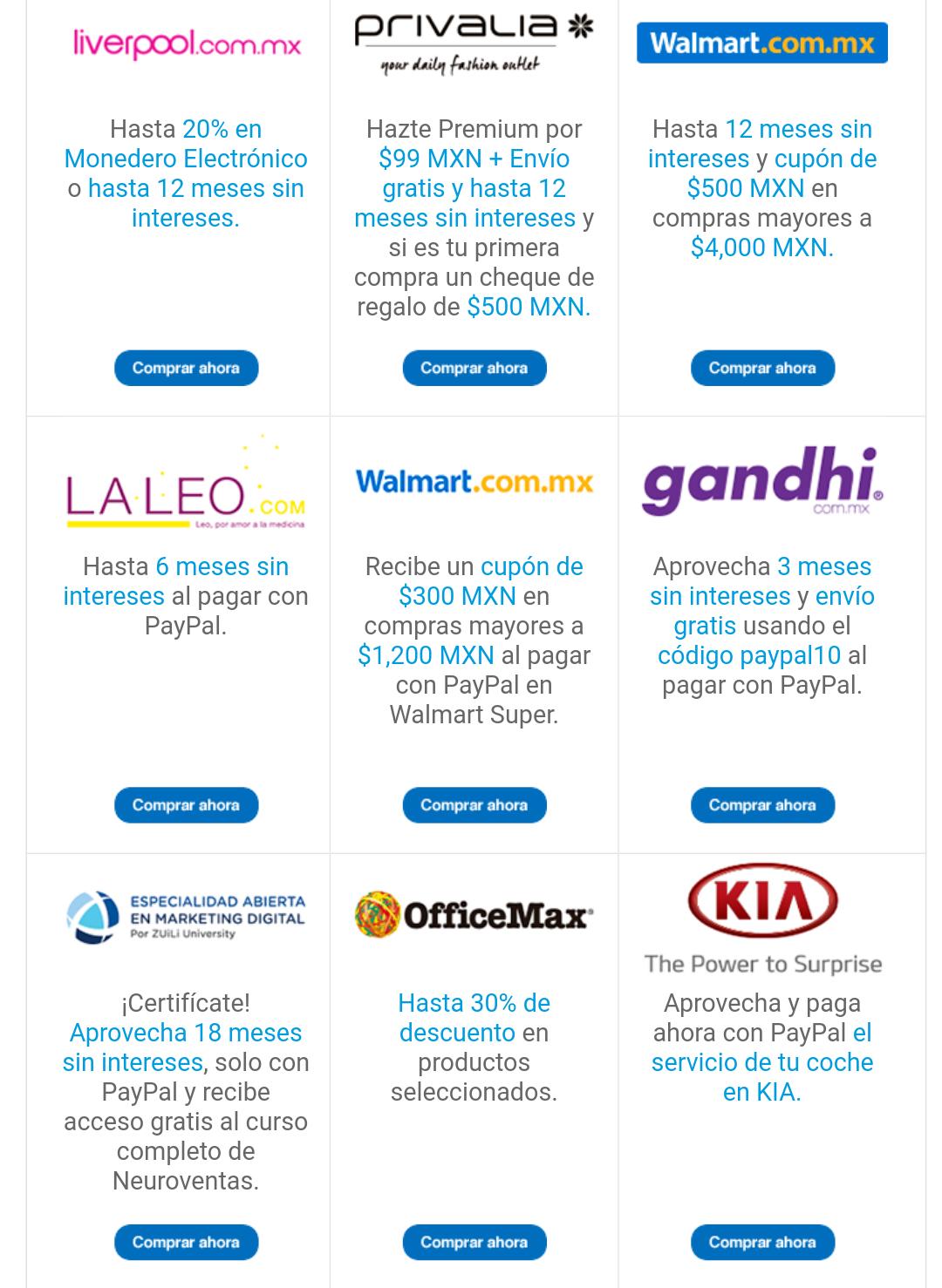 PayPal: descuentos, meses sin intereses o cupones en Gandhim, KIA, Walmart y más