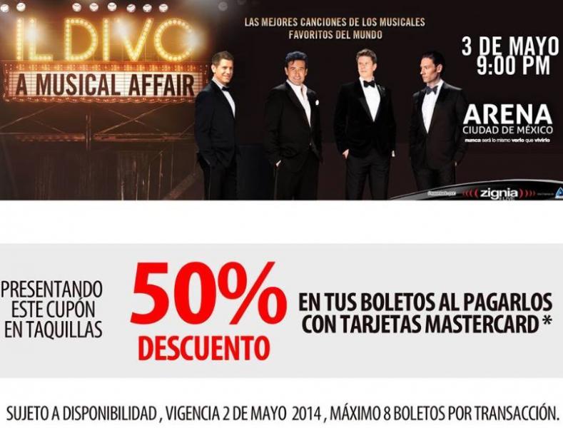 50% de descuento en concierto de Il Divo con MasterCard