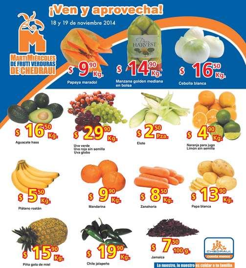 Ofertas de frutas y verduras en Chedraui 18 y 19 de noviembre