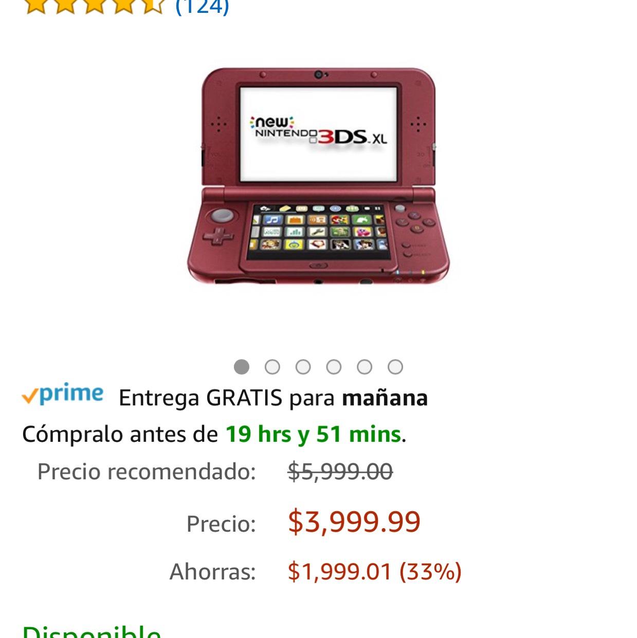 Amazon: Consola 3DS XL New, Rojo - Standard Edition