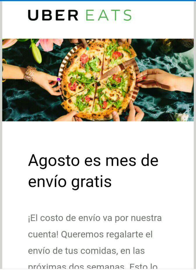 Uber Eats: ENVIO GRATIS (a usuarios seleccionados)