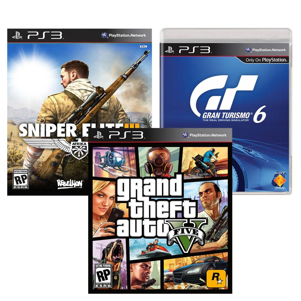 Walmart.com.mx: Bundles juegos PS3 incluye Sniper elite 3, Gran Turismo 6 y GTA V