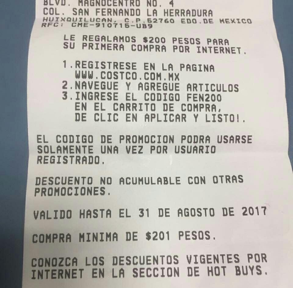 Costco: Cupón $200 pesos para primer compra en línea.