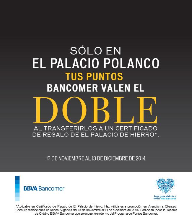Palacio de Hierro: cambio de Puntos Bancomer al doble (Polanco)