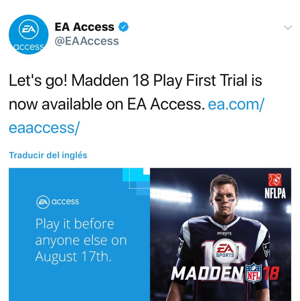 Microsoft: Xbox One - Madden NFL 18 prueba gratis