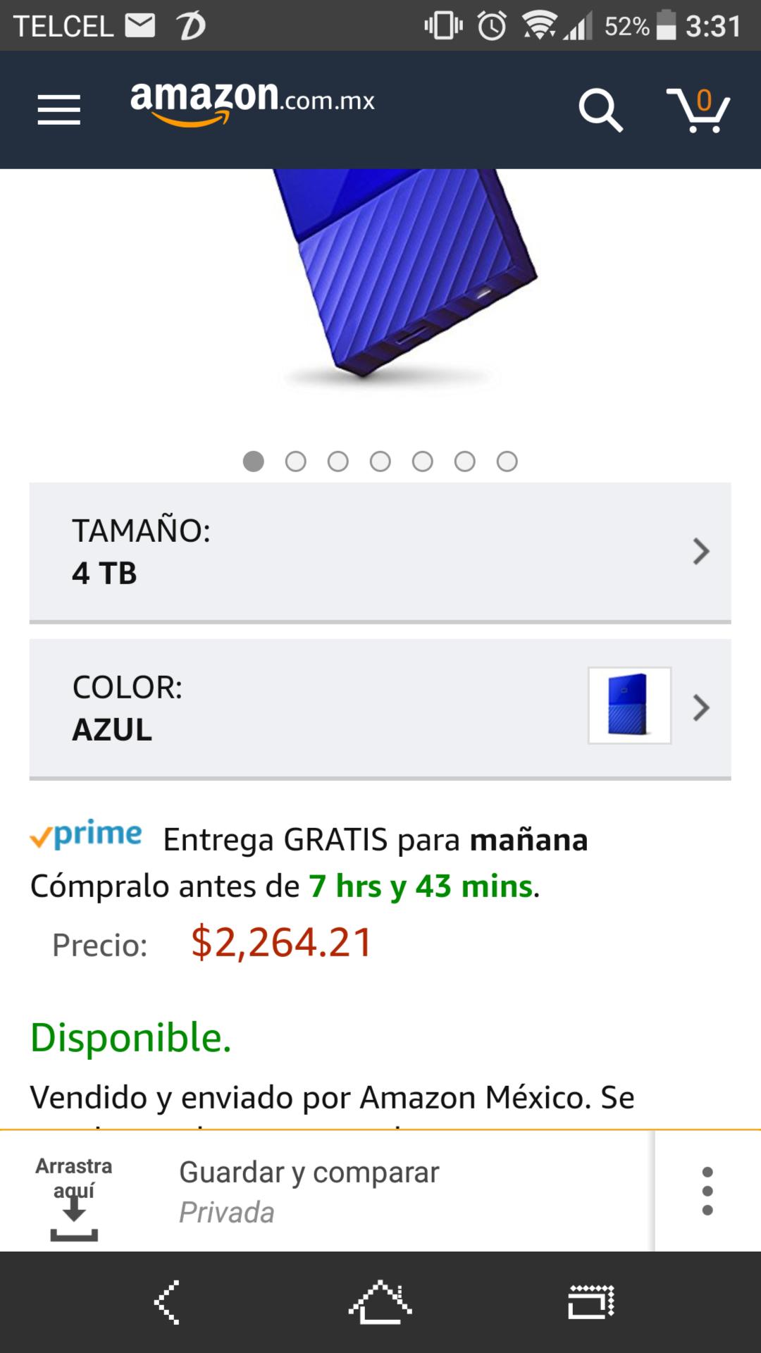 Amazon México: Disco Duro WD Portátil de 4Tb Azul WDBYFT0040BBL-WESN