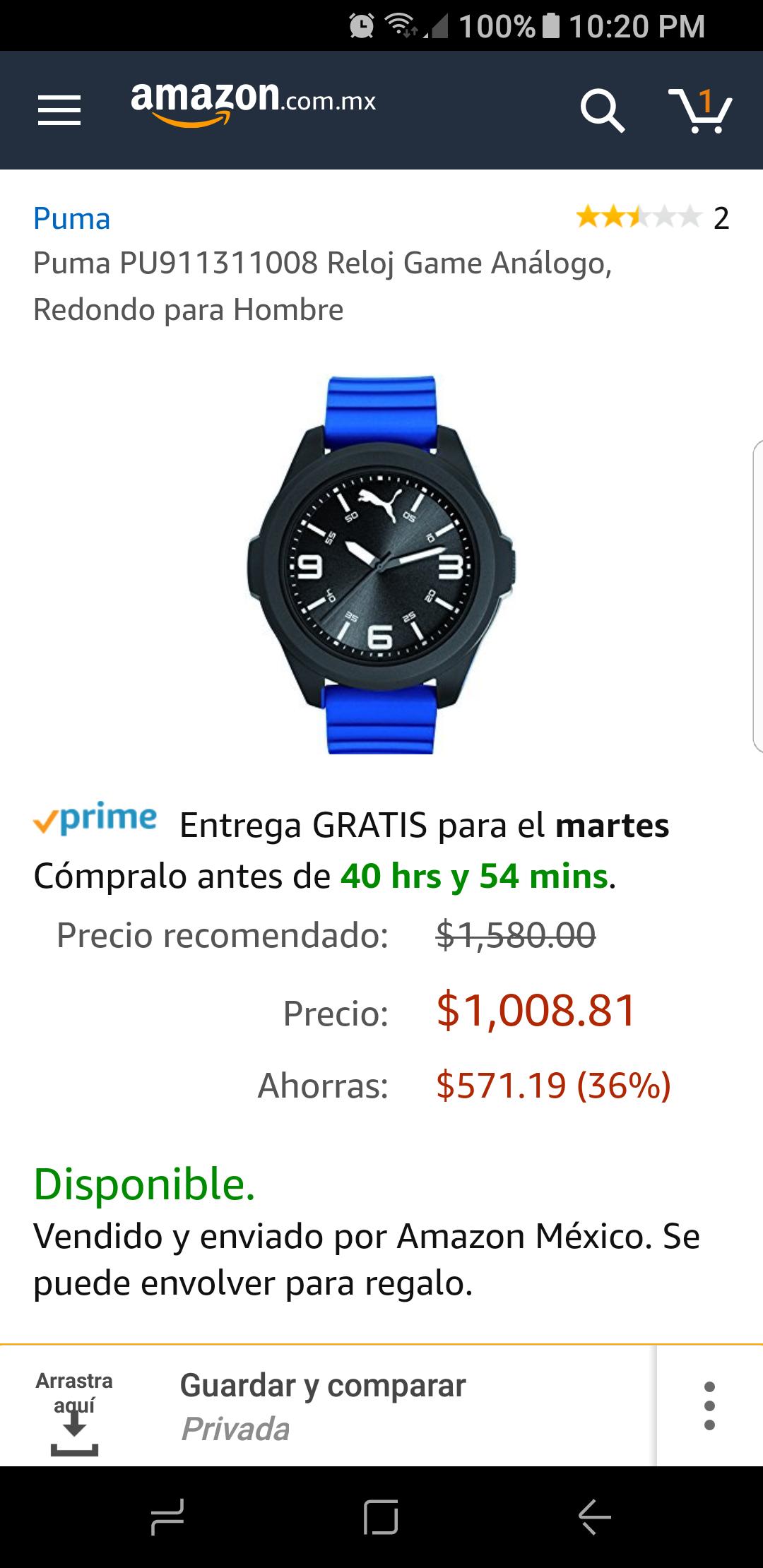 Amazon: Reloj Puma con cupón VISA
