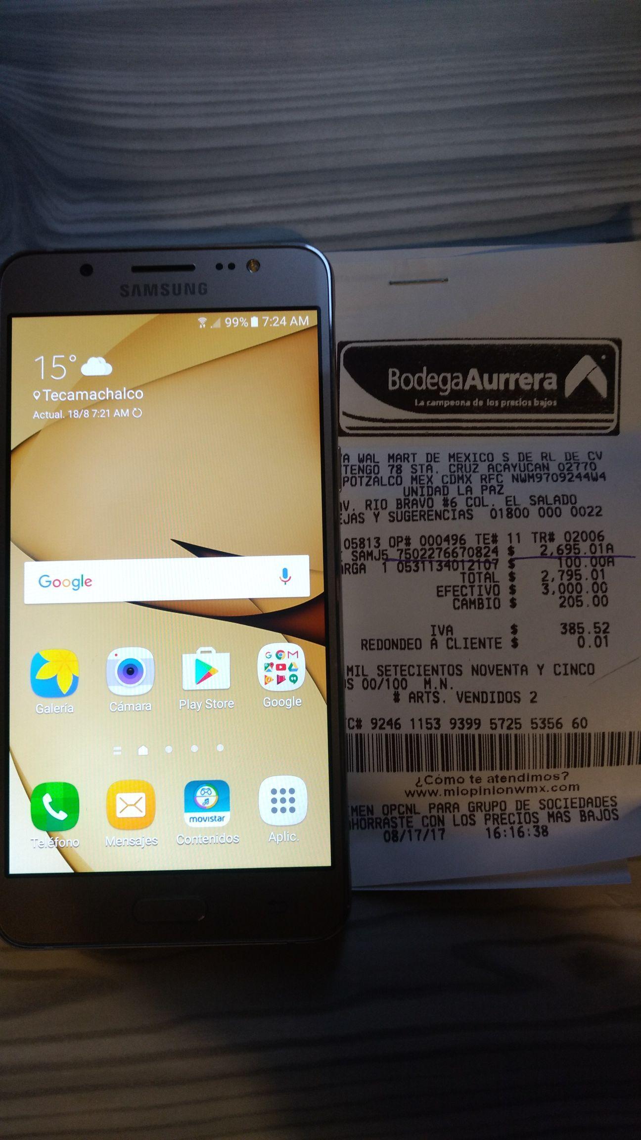 Bodega Aurrerá: Samsung J5 metal a $2,695.01