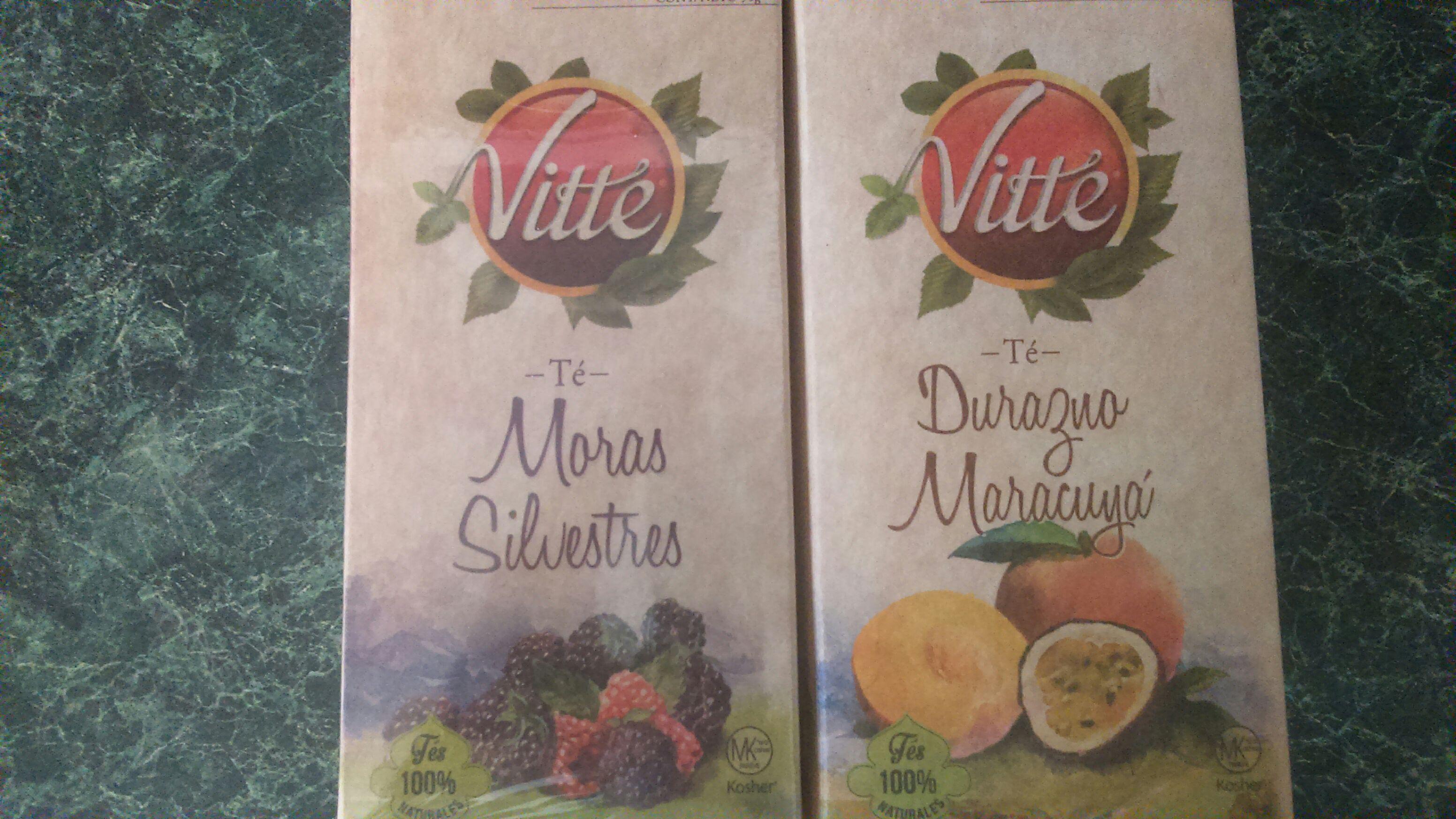 Walmart: Té Vitte de Durazno Maracuyá y Té de Moras Silvestres. $8.01