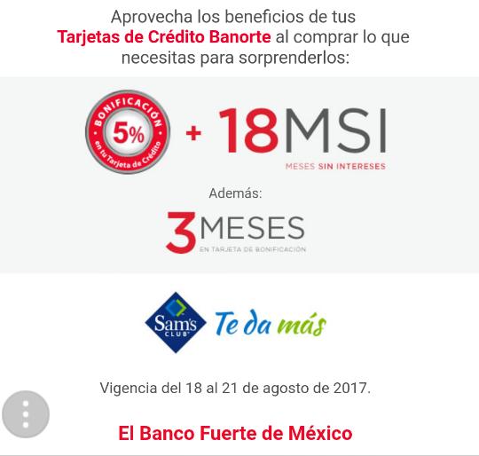 Banorte y Sam's Club: 5% bonificación + 18 MSI + 3 meses de bonificación