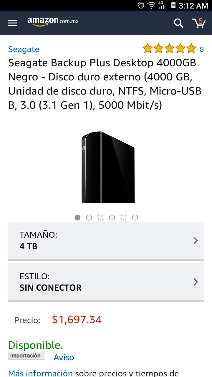 Amazon:  disco duro 4TB Seagate Backup Plus Desktop STFM4000100