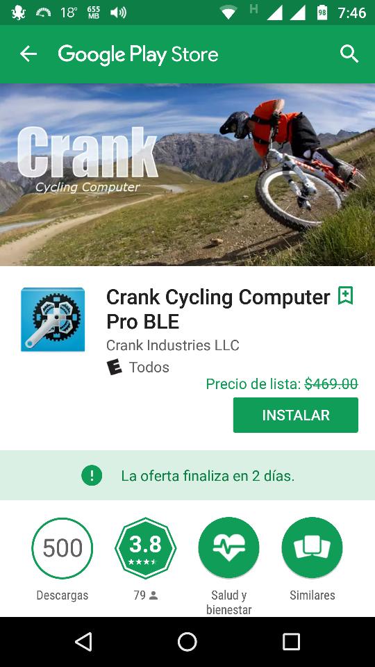 "Google Play: GRATIS   ""Crank Cycling Computer Pro BLE""."