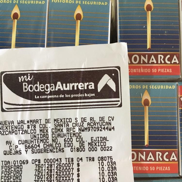 Bodega Aurrerá Chalco: Caja de 50 cerillos a $1