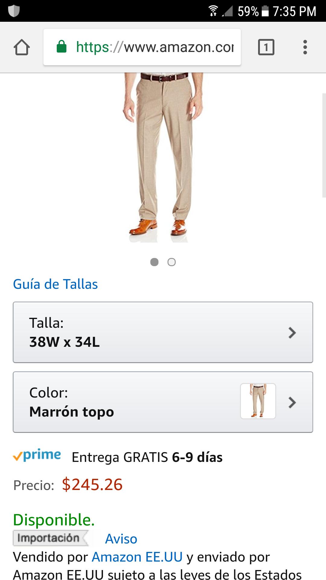Amazon: Pantalón Dockers Caballero talla 38
