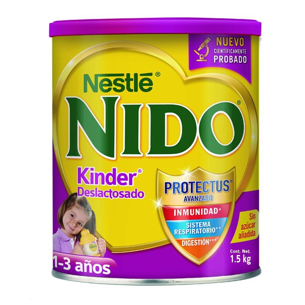 Amazon: Leche Nido Kinder Deslactosada Protectus Avanzado de 1-3 Años Leche en Polvo para Niños, 1.5 kg
