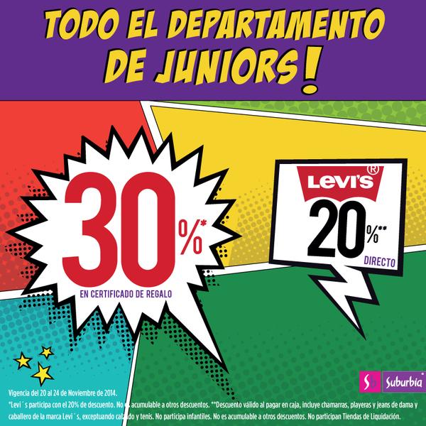 Suburbia: 30% en certificado de regalo en todo juniors y 20% de descuento en Levi's