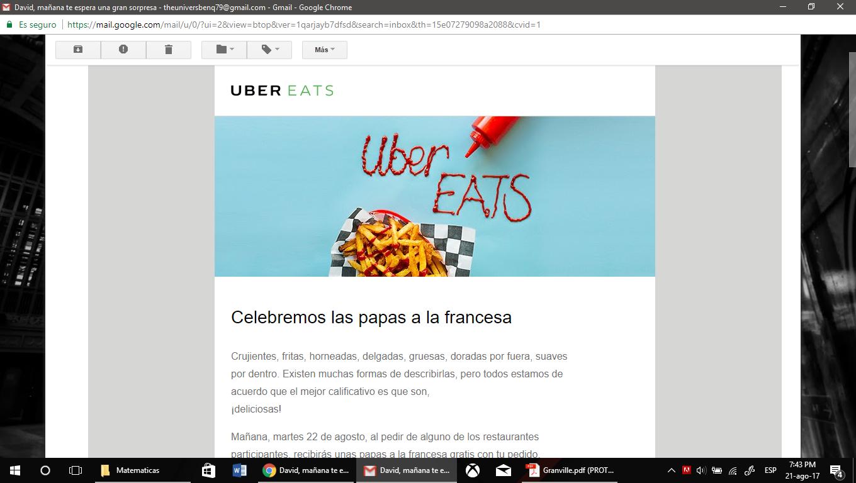 Uber EATS: El 22 de agosto a partir de las 12 pm recibirás unas papas a la francesa gratis al igual que el envio (Solo restaurantes participantes)