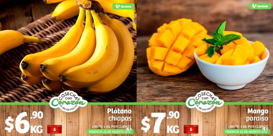 Soriana Híper y Súper: Martes de Cosecha con Corazón 22 Agosto: Plátano Chiapas $6.90 kg. o Mango Paraíso $7.90 presentando Tarjeta Recompensas o sino $8.90 kg. y 9.90 kg... Manzana Red $19.90 kg; Pera Barlett $19.90 kg.