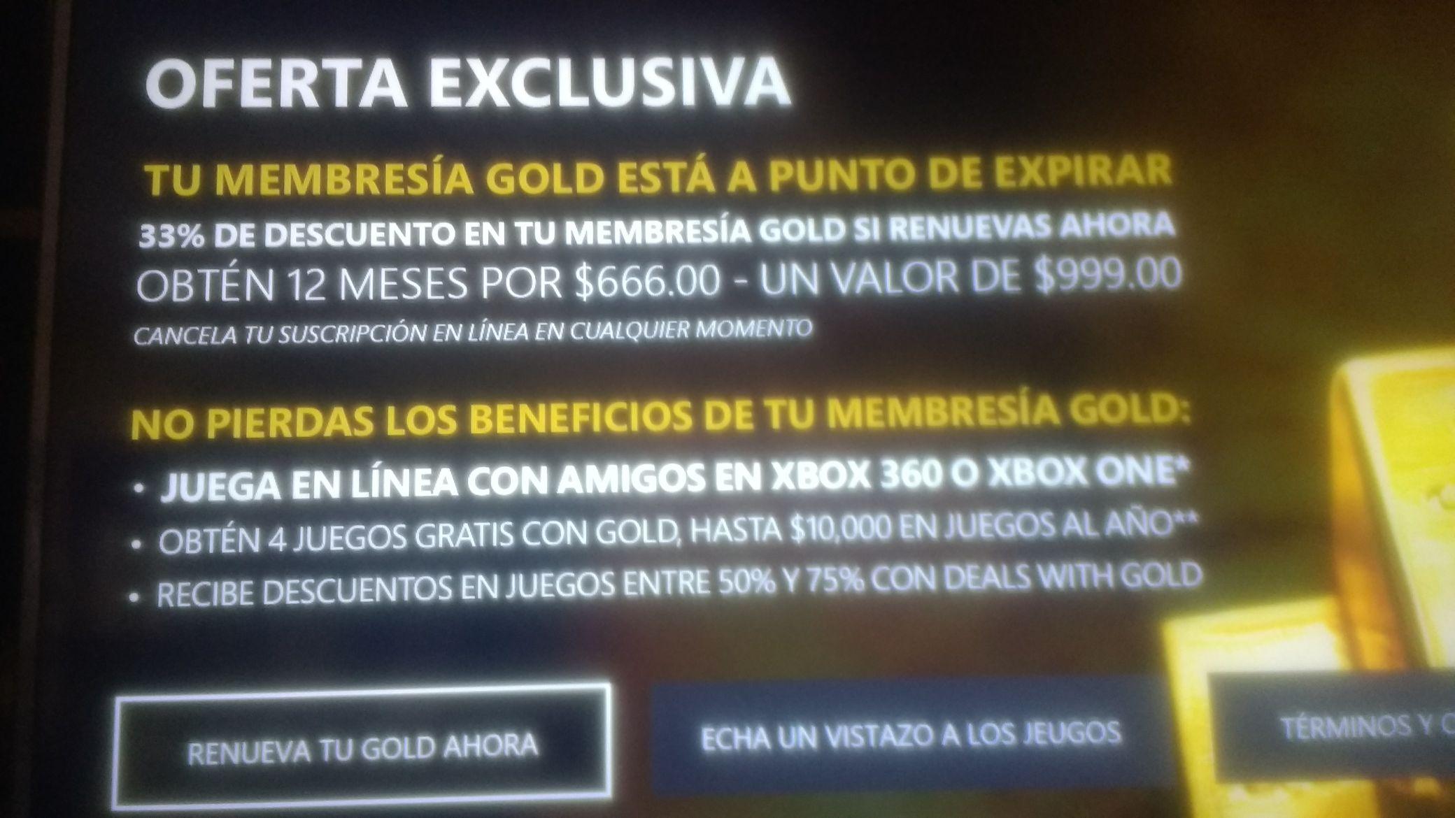 Xbox: Live Gold 1 año a $666 (Usuarios seleccionados)