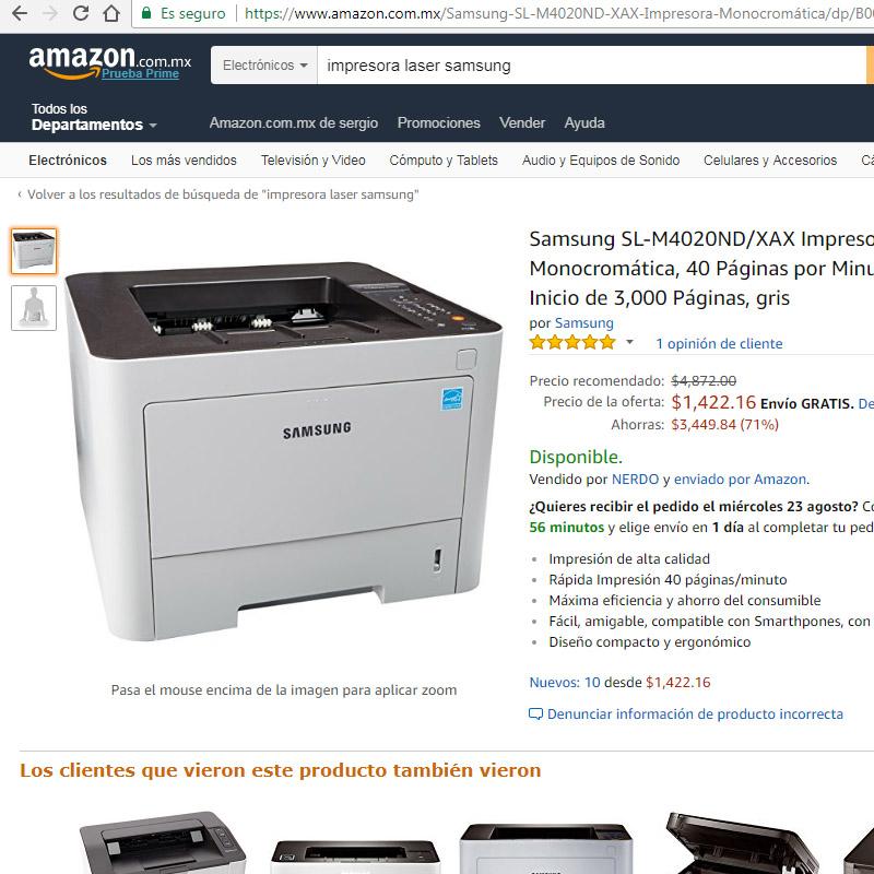 Amazon: Impresora laser samsung SL-M4020ND/XAX (vendido por un tercero)
