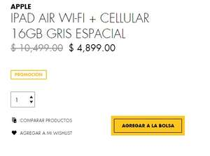 Palacio de Hierro: iPad Air Wi-Fi + CELLULAR  16GB $4,899