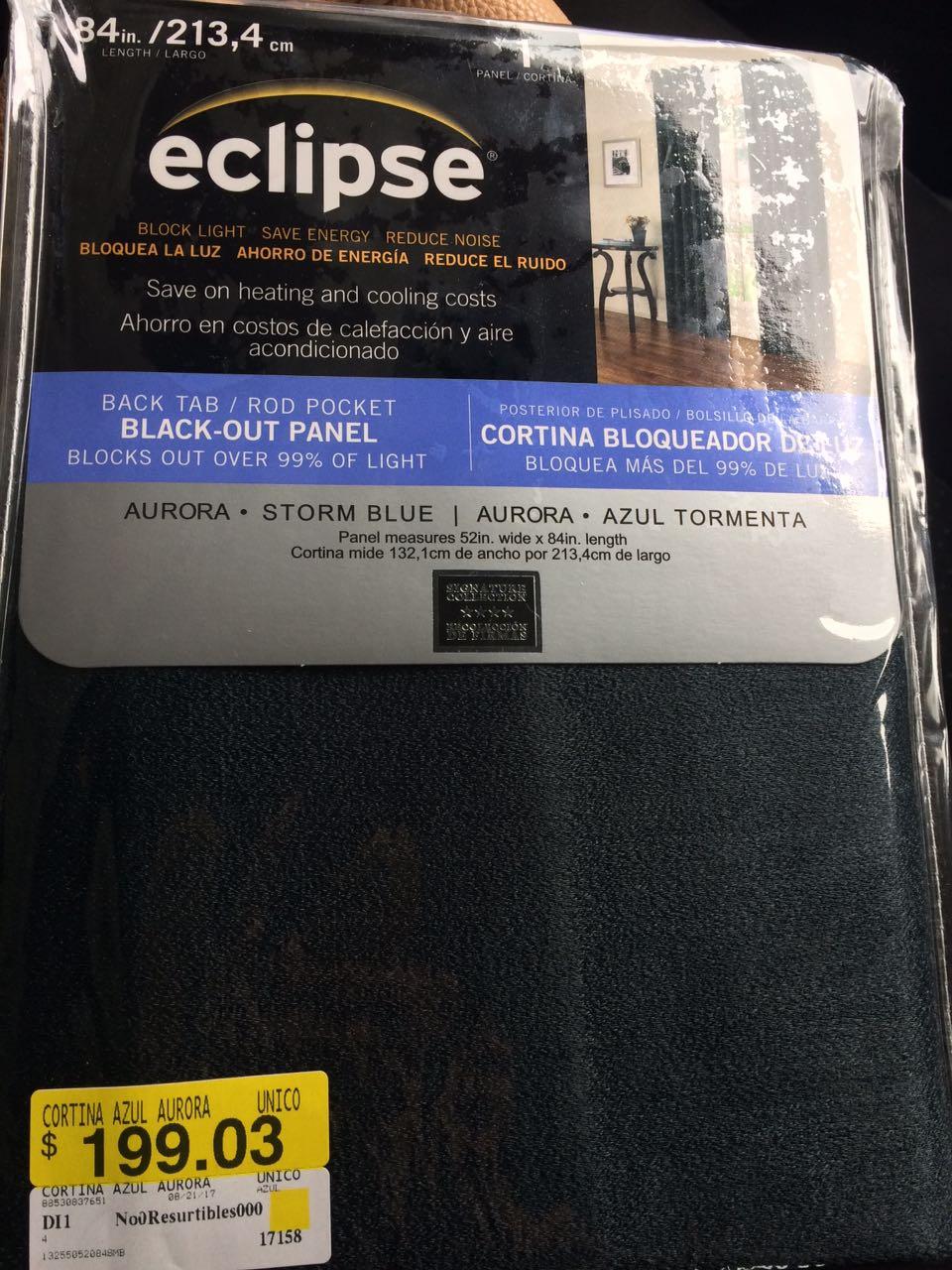 Walmart; CORTINA ECLIPSE BLACK OUT a $139.02 Y MAS