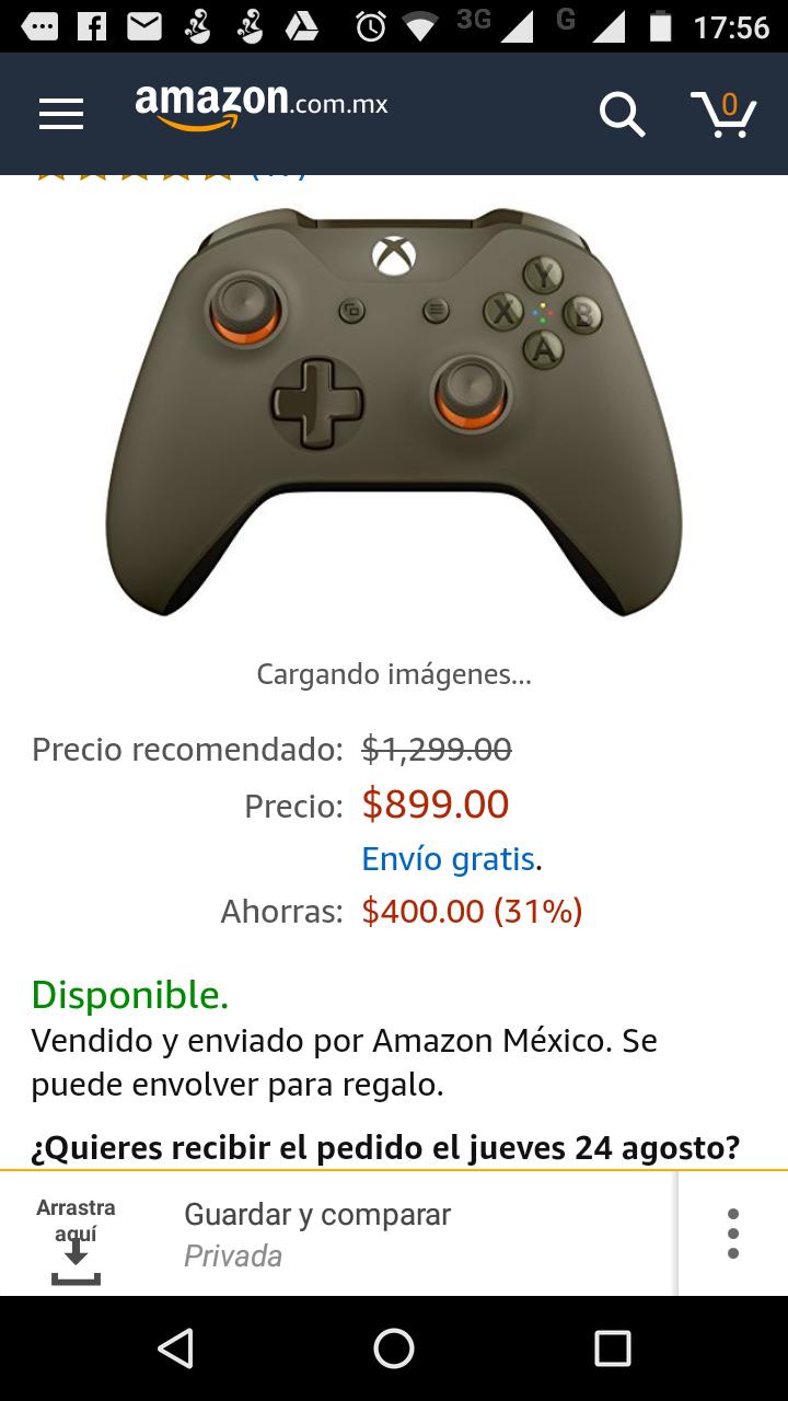 Amazon: Control inalámbrico para Xbox One, color Verde Militar a $899