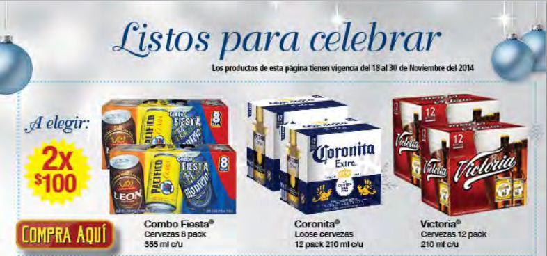 Superama: cartón de coronita o victoria o dos Combo Fiesta $100