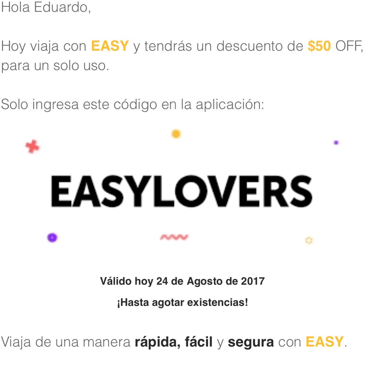 Easy Taxi: Cupón de $50 para un viaje