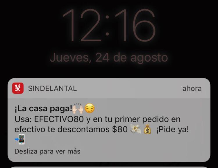 Sin Delantal: cupón de $80 pesos de descuento al pagar en efectivo, mínimo de compra $120, usuarios nuevos