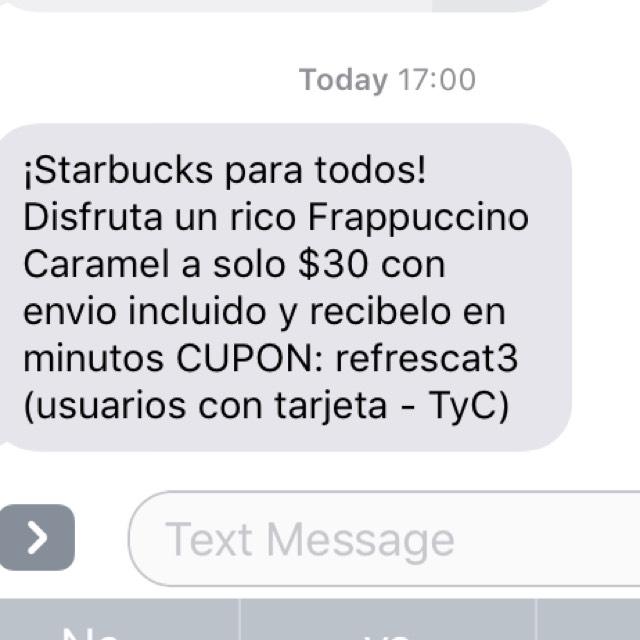 Rappi: frapuccino caramel de Starbucks en $30