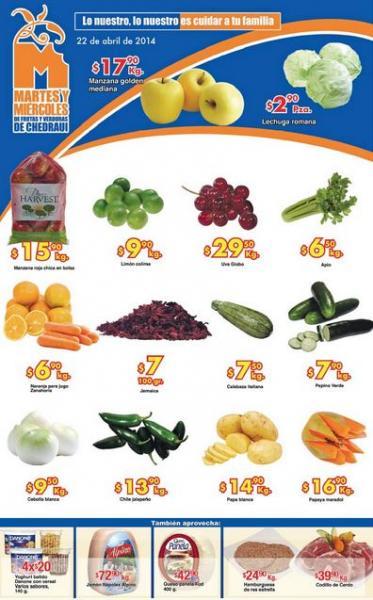 Ofertas de frutas y verduras en Chedraui abril 22 y 23