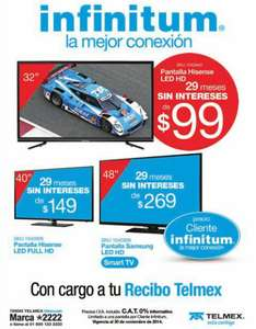 "Telmex: pantalla LED Hisense 32"" $2,871, LED 40"" $4,321, LG Smart TV 42"" $6,061 y más a 29 MSI"