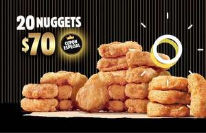Burger King: cupón para 20 NUGGETS por $70