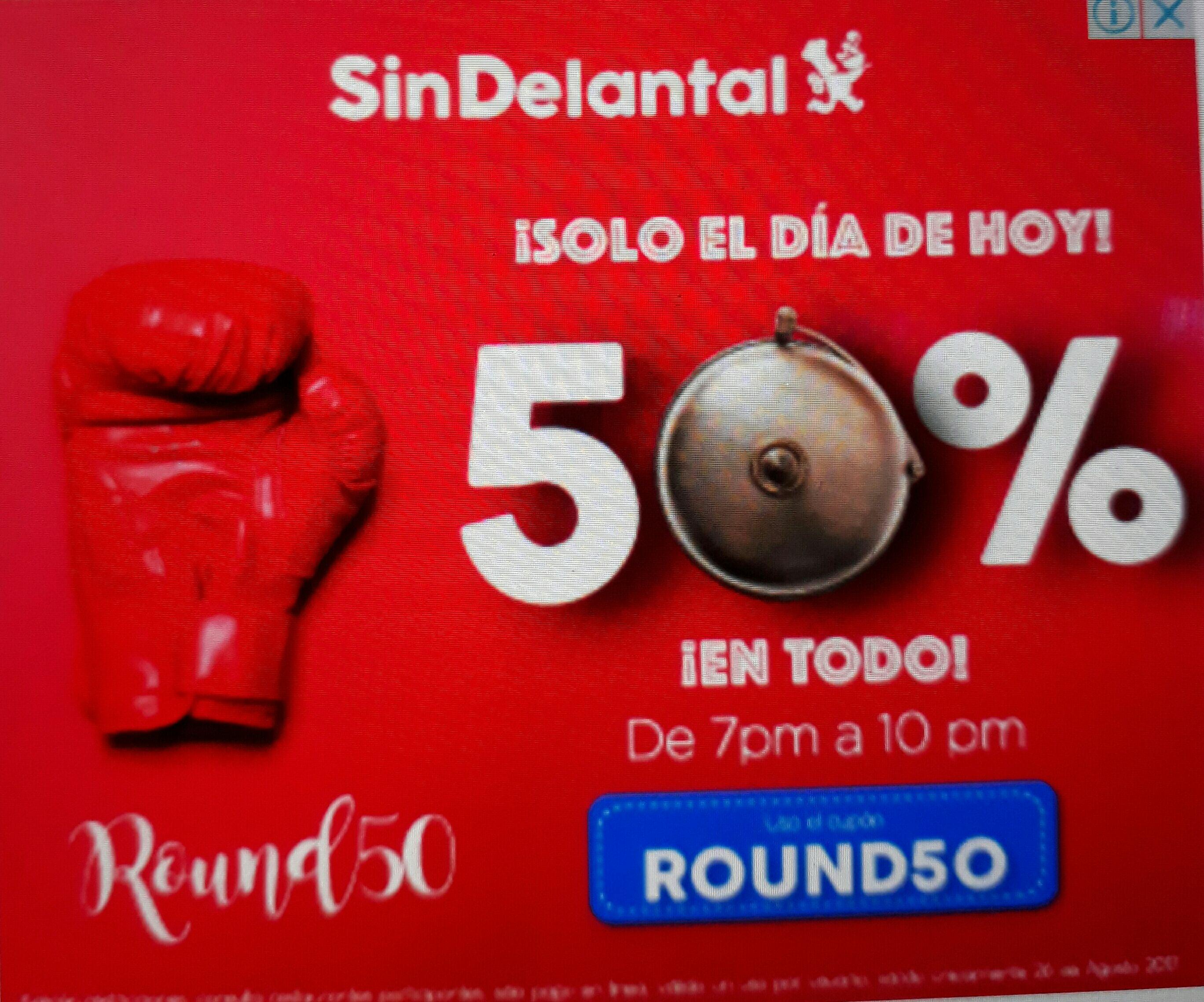 Sin Delantal: 50% de descuento el dia de hoy para la pelea!!! De 7 a 10