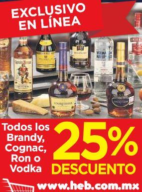 HEB online: 25% de descuento en brandy, cognac, ron y vodka y otras ofertas