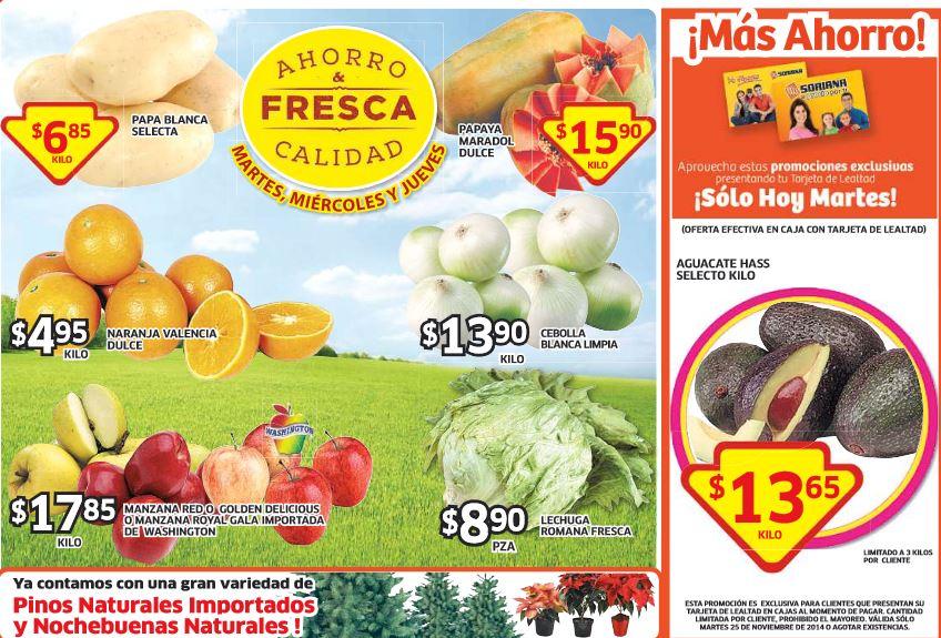 Ofertas de frutas y verduras en Soriana el 25 de noviembre