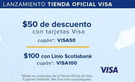 Linio: Cupones de descuento para lanzamiento de Tienda Ofiacial Visa.