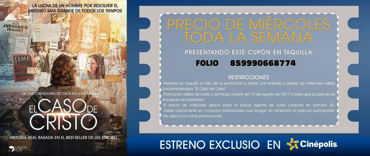 """Cinépolis: Película """"El caso de Cristo"""" Folio para precio de miércoles todos los días"""