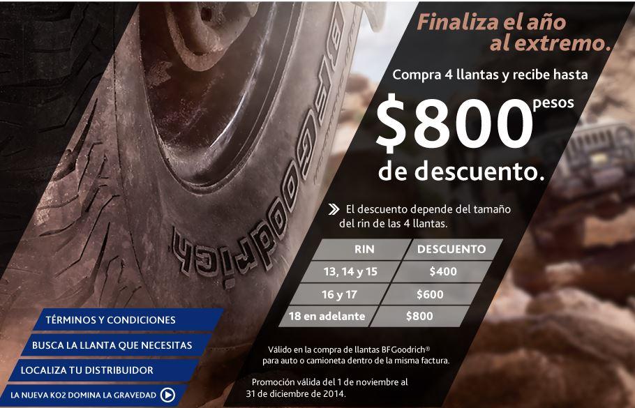 Hasta $900 de descuento o bonificación en llantas BFGoodrich y Bridgestone